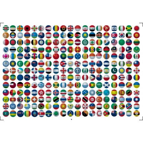 Naklejki okrągłe - flagi państwa świata